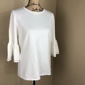 Ivanka Trump Ivory Bell Sleeve Sweater XL